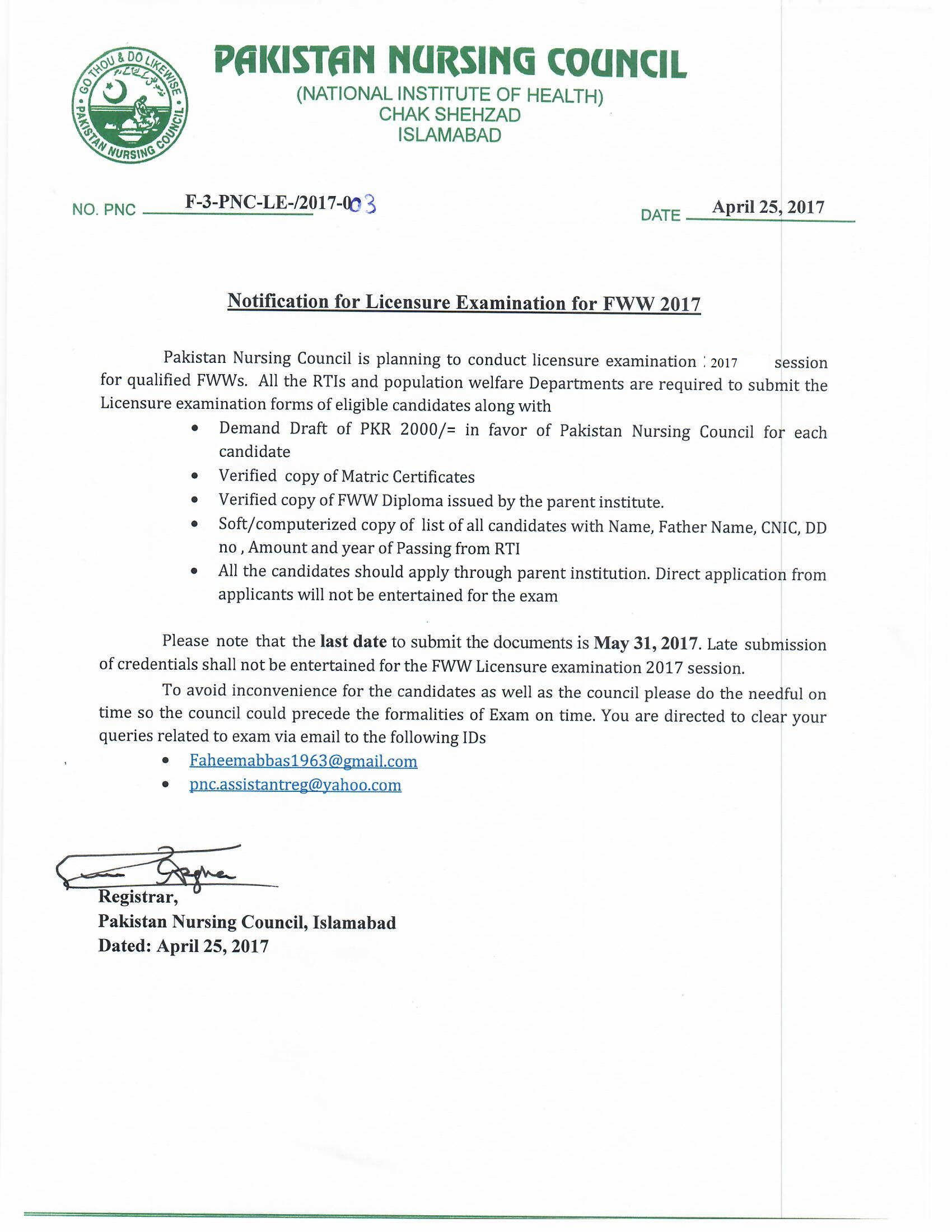 Licensing Examination Schedule